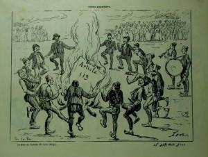 【図5】Kalem, no. 17 (24 Dec. 1908), p. 9.  「第113条が燃やされた日」(危険人物の国外追放等を規定した帝国憲法第113条の改正を喜ぶ人びと)