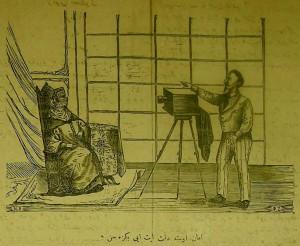 【図7】Hayâl, no. 119 (13 Teşrîn-i Sânî 1290 / 25 Nov. 1874), p. 4 (Hakkı Tarık Us Collection). 「いいこと,気をつけて,上手に写してちょうだい。」(西洋近代の技術に注文を付ける,顔を覆ったイスラーム教徒の婦人)